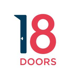 """18doors logo in black and red with a large number 18 on top of the word """"doors""""."""