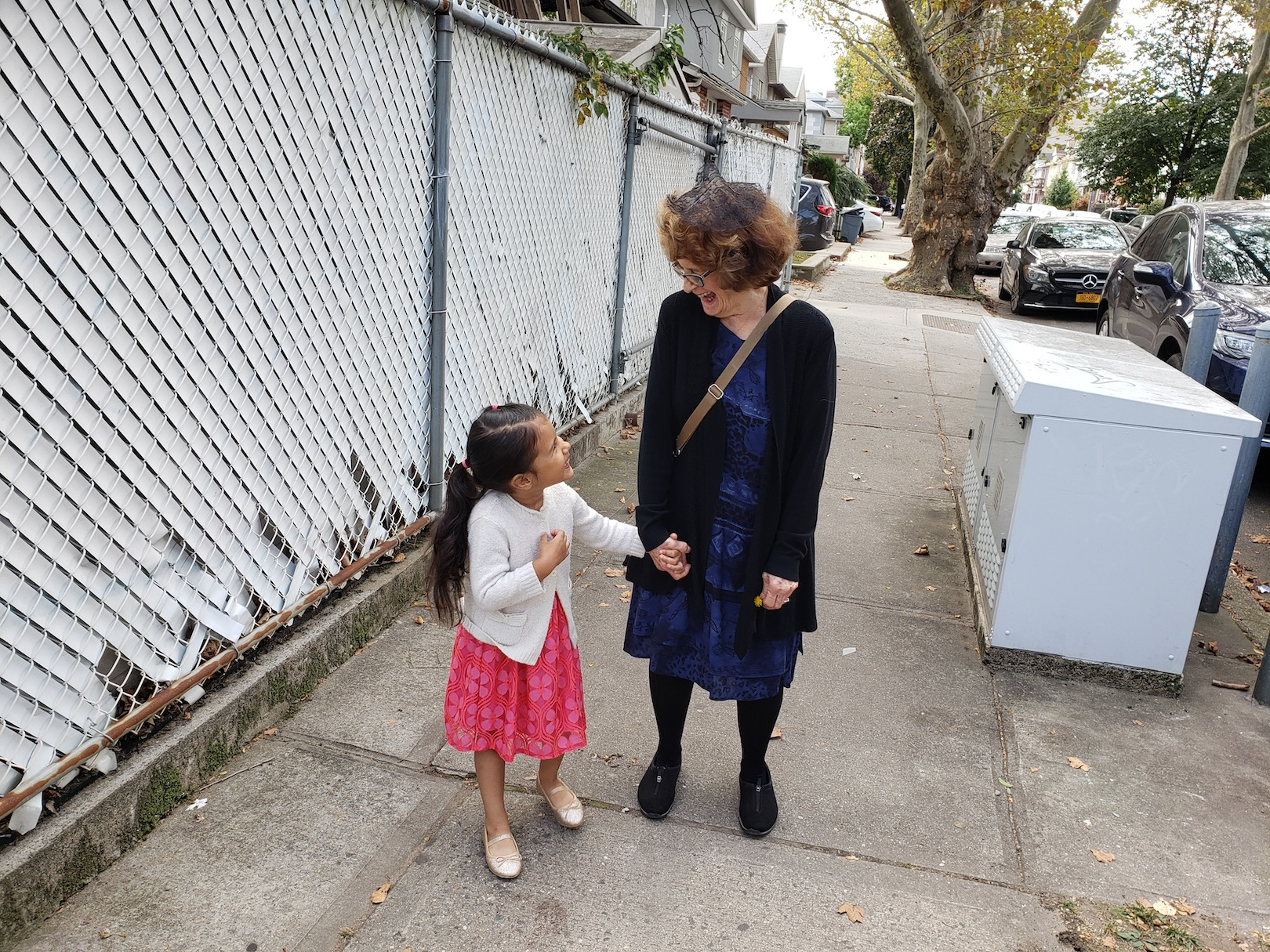 Helen Rose and Grandma Walking to Synagogue Rosh Hashanah, 2019