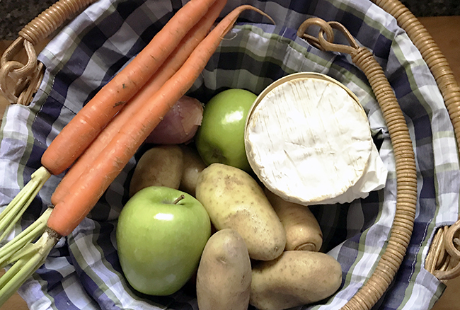 Basket of ingredients apple hash