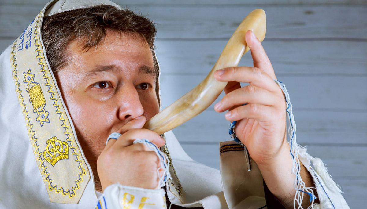 blowing a shofar