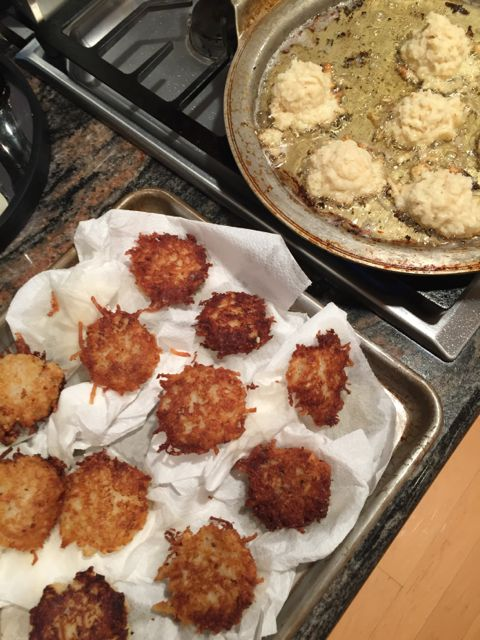fried and frying latkes