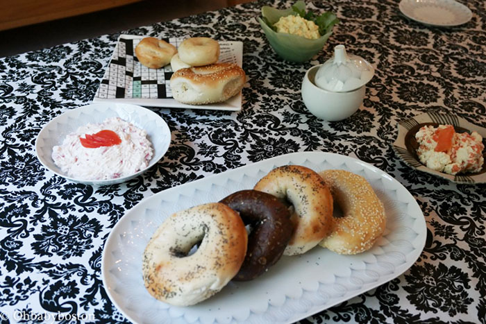 Bagel schmears for Shavuot