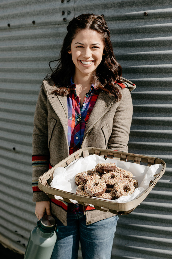 Molly Yeh with dougnuts