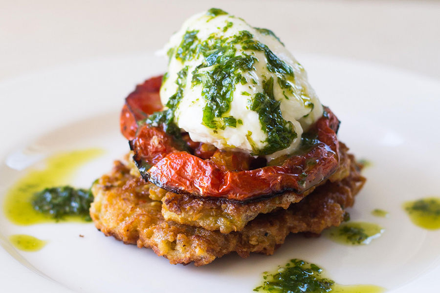 Roasted Garlic Latkes topped