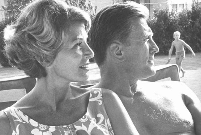 Kirk Douglas and wife, Anne - reprint from Kveller.com