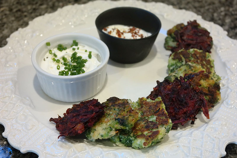 red and green latkes