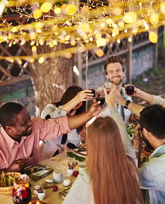 Celebrating at dinner