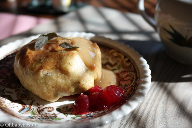 Thanksgiving knish ready to be enjoyed.