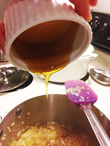 Adding the honey