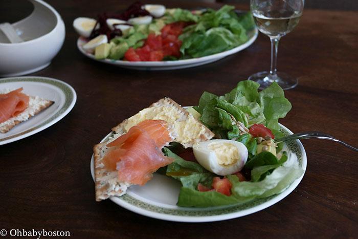 Passover cobb salad with salmon tartine