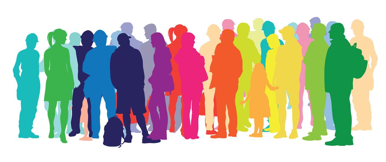 Illustration of rainbow colored people
