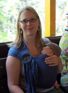 Emily demonstrating the fabulousness of the ring sling when her daughter was tiny