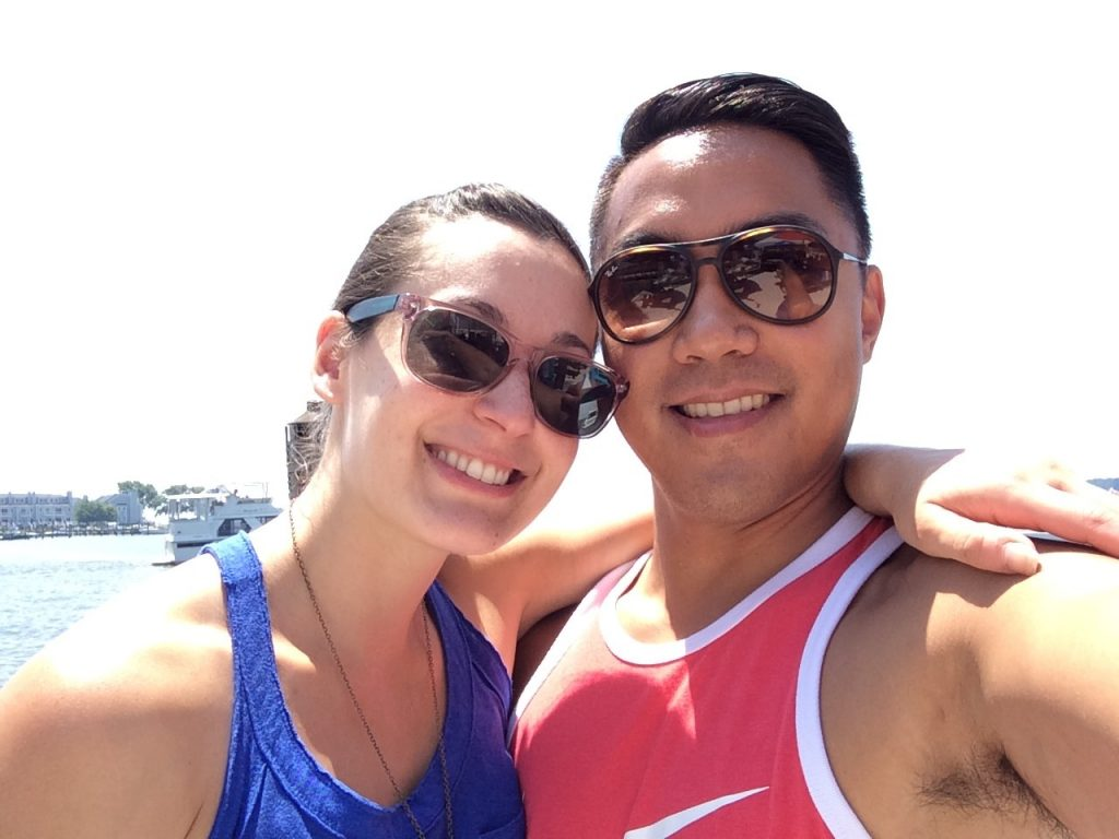 Emily and Jose take a break from wedding planning to enjoy time outside.