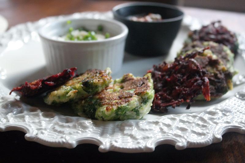 beet and broccoli latkes