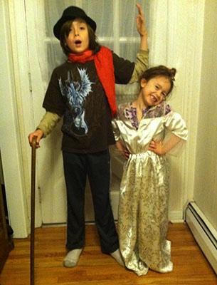 Kids celebrating Purim