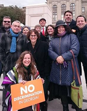 Malka at a walk against discrimination