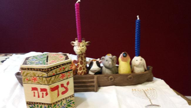 Mychal and her dad on Hanukkah
