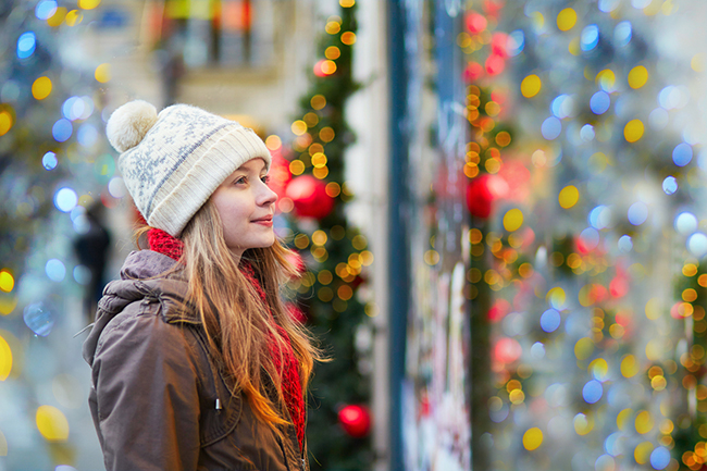 Girl at Christmas market