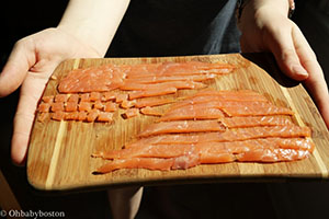 Chop your smoked salmon