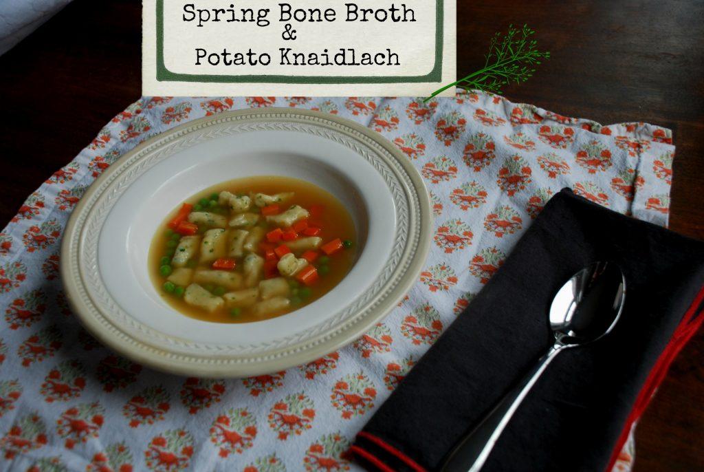 spring bone broth with parsley potato knaidlich