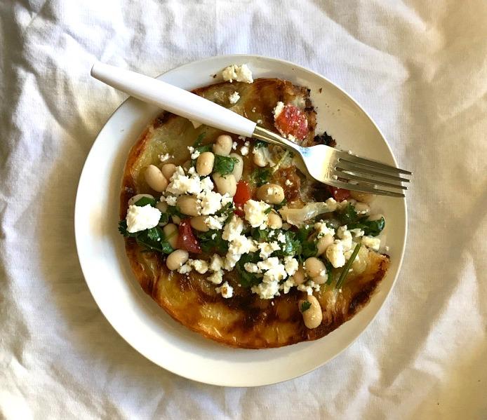 white bean salad on malawach