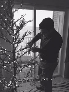 Sarah's husband decorates the tree
