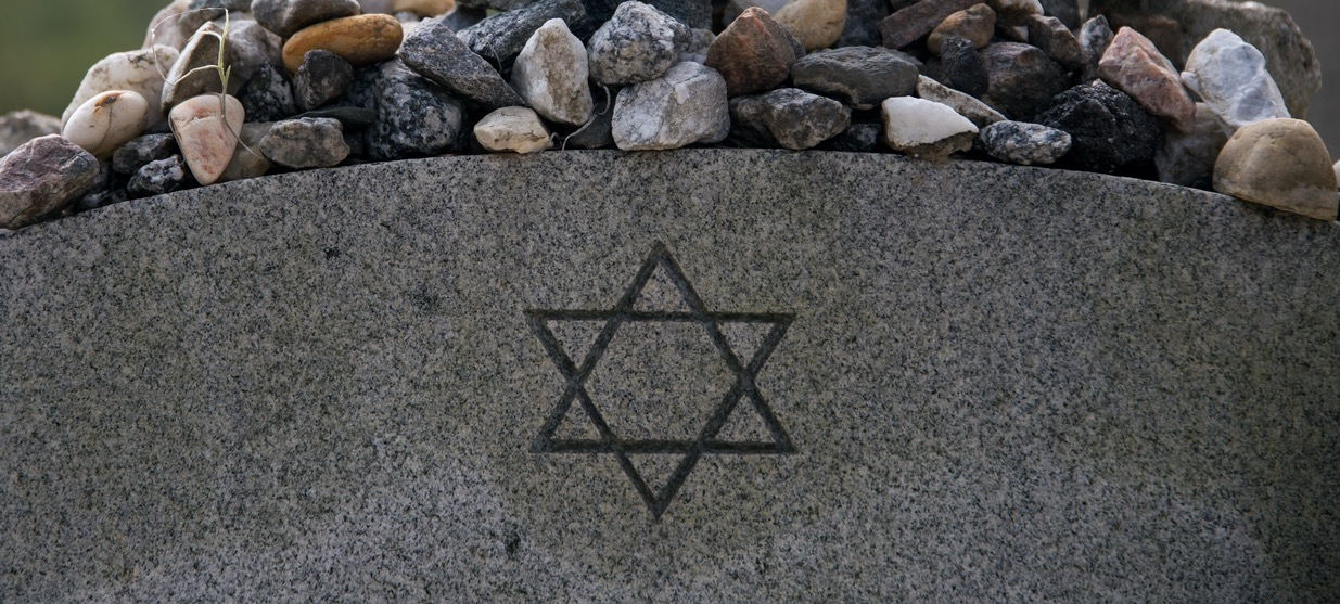 Closeup image of a gravestone with a Jewish Star of David and peddles on top of the gravestone.