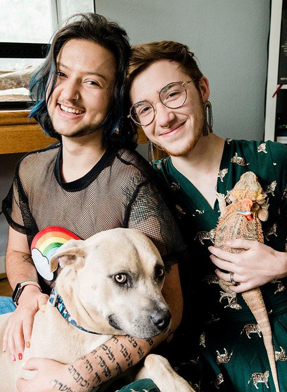 Ezra and Joe with their dog