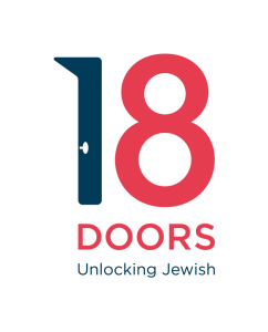 18Doors logo with a number 1 in blue and a number 8 in red and the word doors below the numbers.
