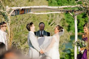 Image of an outdoor Jewish wedding under a chuppah.