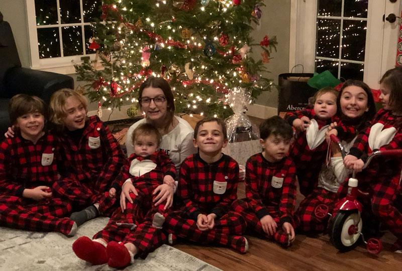 Kids in matching PJs